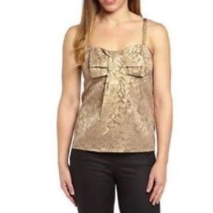 NWT FRENCH CONNECTION Gold Jacquard Strap Top